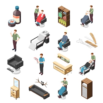 Barbershop isometric icons and characters