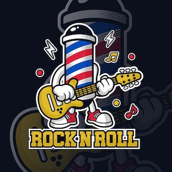 Barbershop lamp  character playing guitar illustration