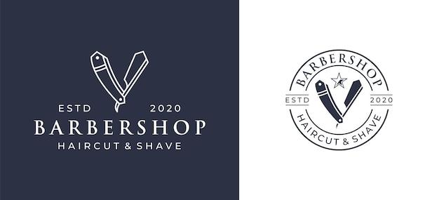 ヴィンテージスタイルの理髪店のロゴデザイン。