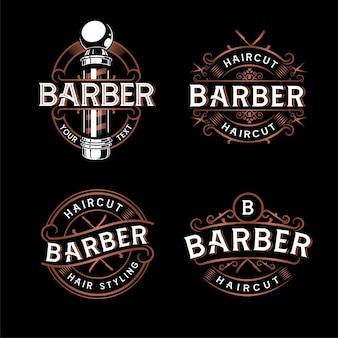 理髪店のロゴデザイン。暗い背景の上のビンテージレタリングイラスト。すべてのオブジェクト、テキストは別々のグループにあります。