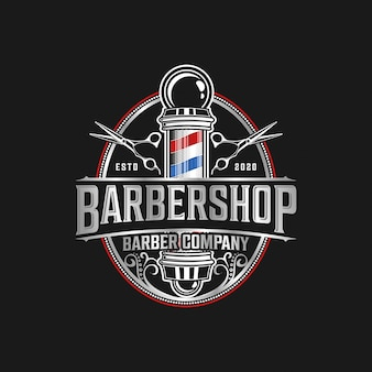 Barbershop logo elegant vintage details with professional scissors and razor elements