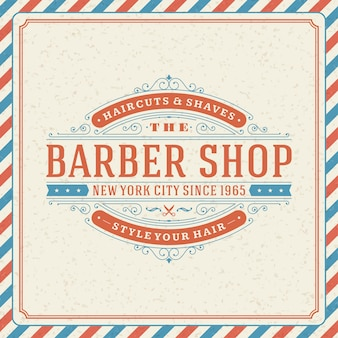 Barbershop logo with flourish ornament vignettes and typographic
