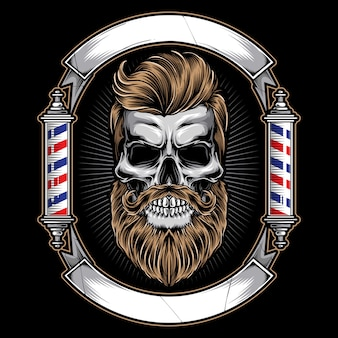 Barbershop logo with skull