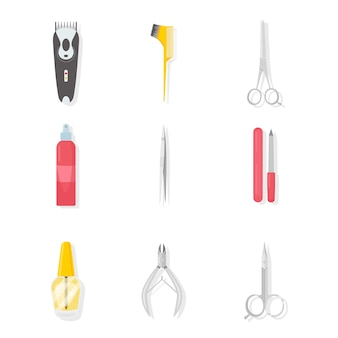 Barbershop and manicure tools illustrations set. hairdresser salon professional equipment with ribbon and text. nail salon. beauty industry. pedicure instruments  cliparts. scissors, polish