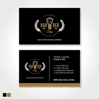 Barbershop modern business card template with black and gold