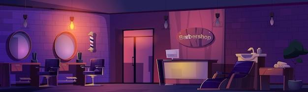 Salone di bellezza scuro interno di notte del barbiere Vettore gratuito
