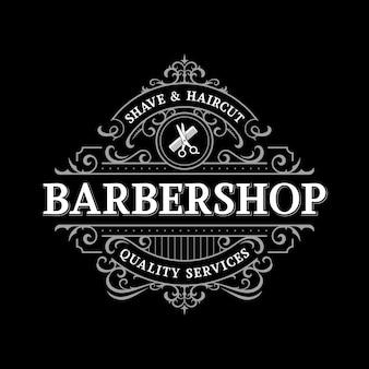 Барбершоп богато украшенный винтажный викторианский типографский дизайн логотипа с декоративной декоративной рамкой