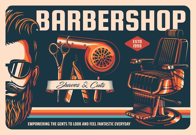 理髪店のポスター、理髪店のヘアカットサロン、あごひげと口ひげのグルーミング。あごひげ、理髪ツール、シェービング機器を持った理髪店の流行に敏感な男