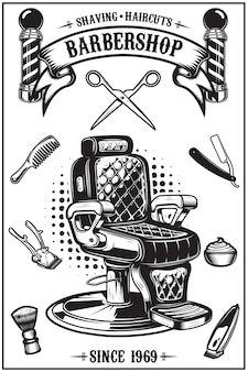 Barbershop poster with barber chair, haircut tools.  elements for poster, emblem.  illustration