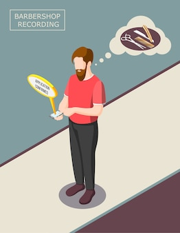 Registrazione da saloni di parrucchiere tramite smartphone, uomo barbuto con app sul dispositivo mobile, strumenti di taglio di capelli, illustrazione di sfondo isometrica