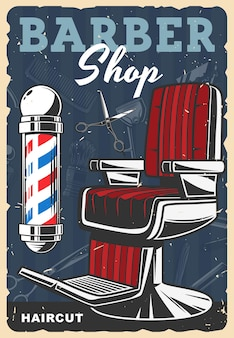 Barbershop retro poster, haircut stylist salon vintage banner