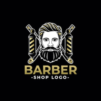 Barbershop royal gold template logo