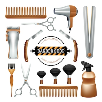 Barbershop sign and tools comb scissors brush razor color decorative icon set