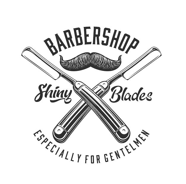 理髪店のベクトルデザインの理髪店ストレートかみそりと口ひげのアイコン。ヴィンテージの男性の口ひげの孤立したシンボルまたはエンブレムとヘアカットとひげ剃り機器または美容ツール