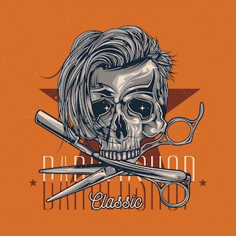 Barbershop theme t-shirt label design with illustration of hairy skull, razor and scissors