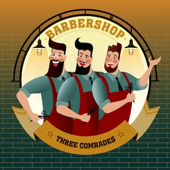 Barbershop three comrades, hipster city life illustration.