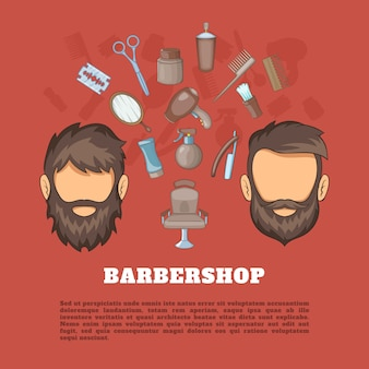 Barbershop tools concept, cartoon style