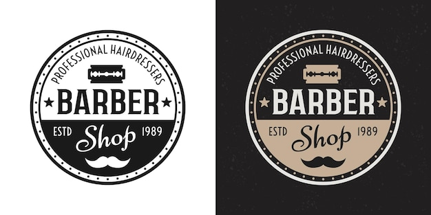 Парикмахерская вектор два стиля черный и цветной старинный круглый значок, эмблема, этикетка или логотип на белом и темном фоне
