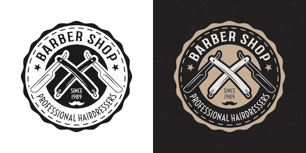 Barbershop vector two style black and colored vintage round badge, emblem, label or logo with crossed straight razors on white and dark background