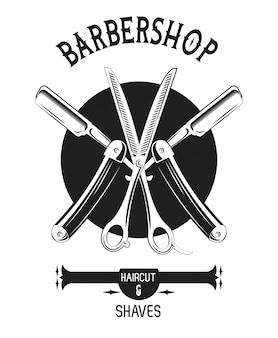 Barbershop vintage black and white emblem