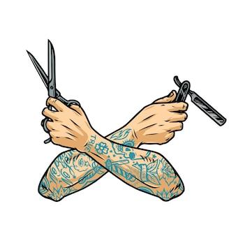 Винтажная концепция парикмахерской со скрещенными татуированными руками парикмахера, держащими ножницы и опасную бритву, изолированных векторная иллюстрация