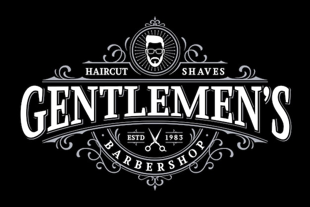 Barbershop vintage lettering logo with floral ornament