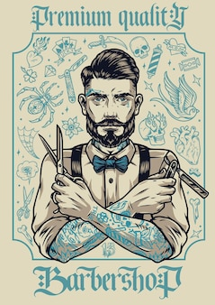 Винтажный плакат парикмахерской со стильным бородатым и усатым парикмахером с разными татуировками, держащим ножницы и опасную бритву