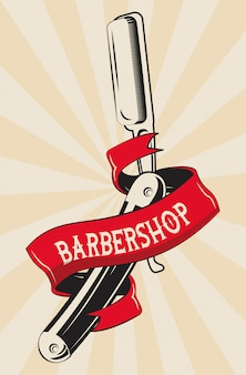 Barbershop vintage red and white emblem