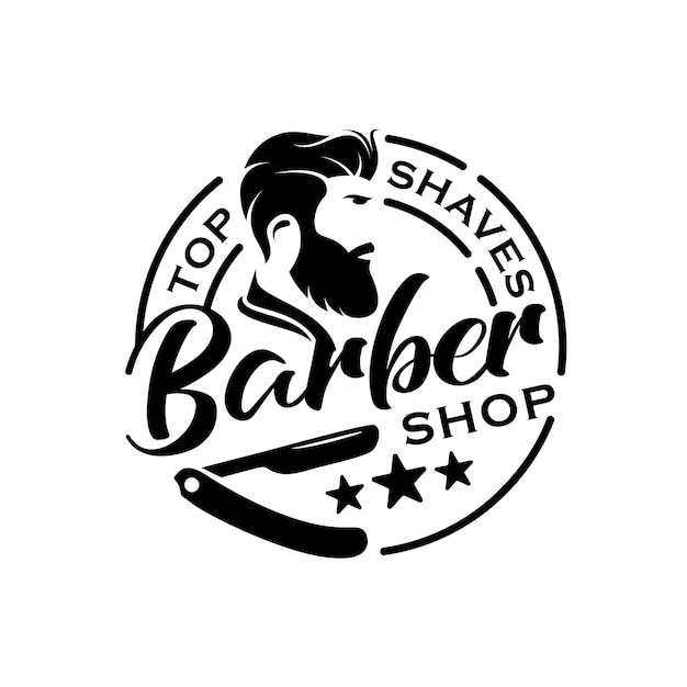 理髪店ヴィンテージレトロバッジロゴスタンプまたはシールステッカーデザインテンプレート