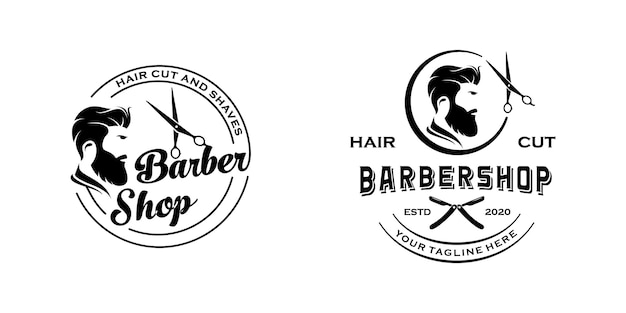 Barbershop vintage retro logo design inspiration template