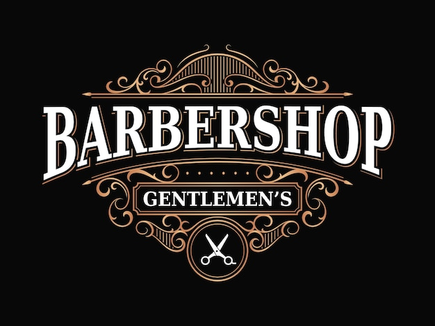 Barbershop vintage royal luxury victorian ornamental logo