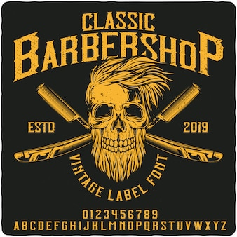 Классический шрифт для старинных этикеток barbershop