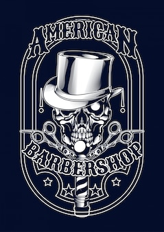Barberskull illustration for t-shirt