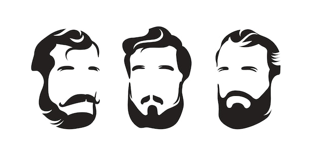 バービーショップ。あごひげの口ひげを持つメンズヘアスタイル。男の頭のシルエット。黒と白のロゴ。