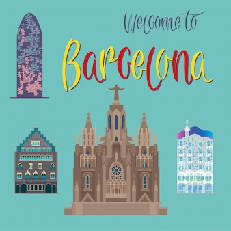 Barcelona architecture. tourism catalonia. barcelona buildings. welcome to barcelona. vector illustration