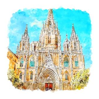 バルセロナ大聖堂スペイン水彩スケッチ手描きイラスト