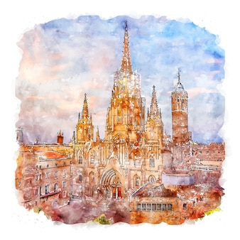バルセロナ大聖堂水彩スケッチ手描きイラスト
