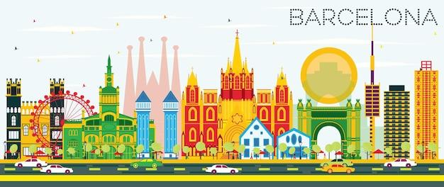 컬러 건물과 푸른 하늘이 있는 바르셀로나 스카이라인. 벡터 일러스트 레이 션. 역사적인 건물과 비즈니스 여행 및 관광 개념입니다. 프레젠테이션 배너 현수막 및 웹사이트용 이미지.