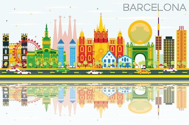 색상 건물, 푸른 하늘 및 반사와 바르셀로나 스카이 라인. 벡터 일러스트 레이 션. 역사적인 건물과 비즈니스 여행 및 관광 개념입니다. 프레젠테이션 배너 현수막 및 웹사이트용 이미지.