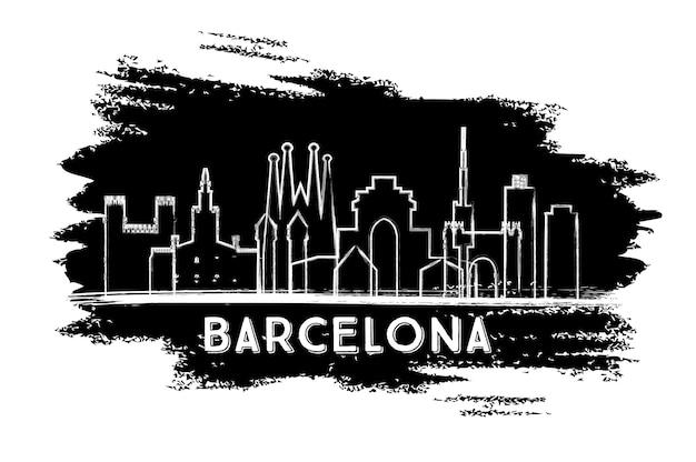 바르셀로나 스페인 도시 스카이 라인 실루엣입니다. 손으로 그린 스케치. 벡터 일러스트 레이 션. 역사적인 건축과 비즈니스 여행 및 관광 개념입니다. 랜드마크가 있는 바르셀로나 도시 풍경.