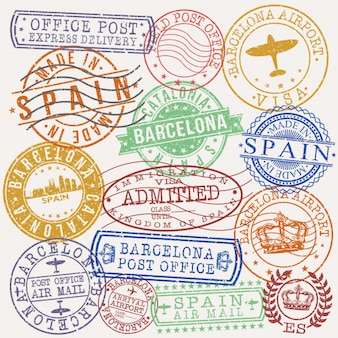 Barcelona spain postal passport quality stamp