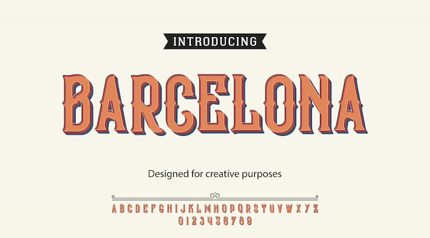 Barcelona typeface font alphabet