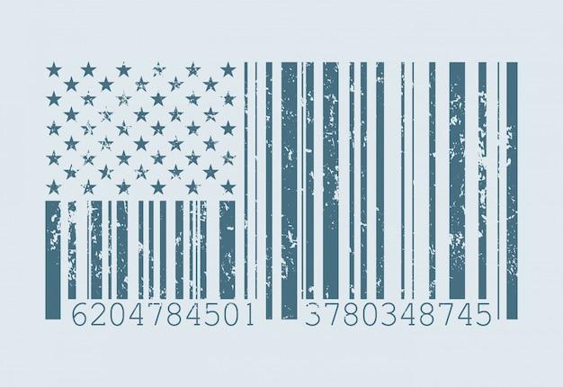 Barcode american flag illustration