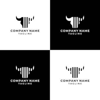 Штрих-код бык логотип коллекция редактируемый вектор