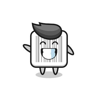 Barcode cartoon character doing wave hand gesture , cute design
