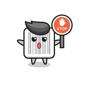Barcode character illustration holding a stop sign , cute design