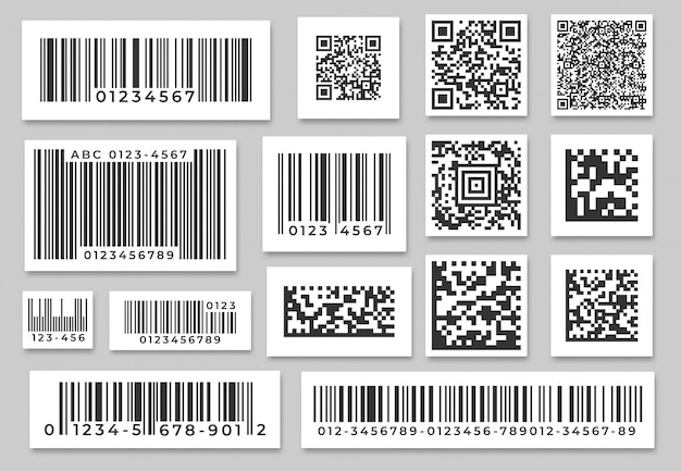 Barcode labels. code stripes sticker, digital bar label and retail pricing bars labeling stickers. industrial barcodes  set