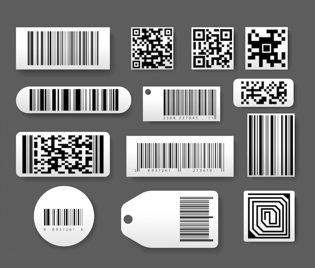 Barcode labels set in realistic style