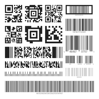 Barcode and qr code set