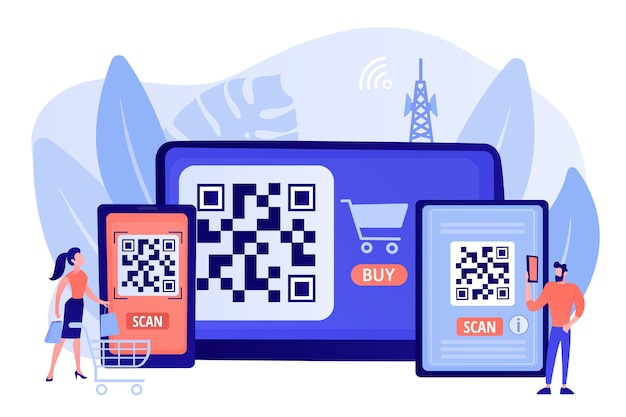 Barcode reading app, qrcode reader epayment transaction application. qr code scanner, qr generator online, qr code payment concept. pinkish coral bluevector isolated illustration